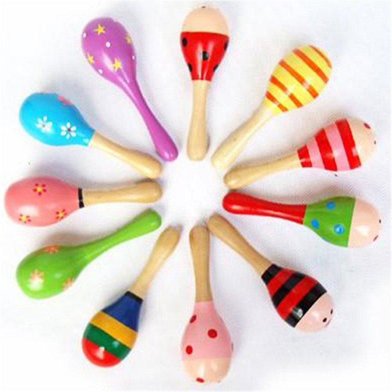 11CM Children Wood Maraca Rattles Kid Musical Party Educational Child Baby Shaker Musical Instrument Toy Wooden
