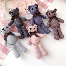 Korea Handmade Fabric Cartoon Bear Fall Winter Key chain Bag Car Pendents for Adult Women Girls Fashion Jewelry-SWKKC033E