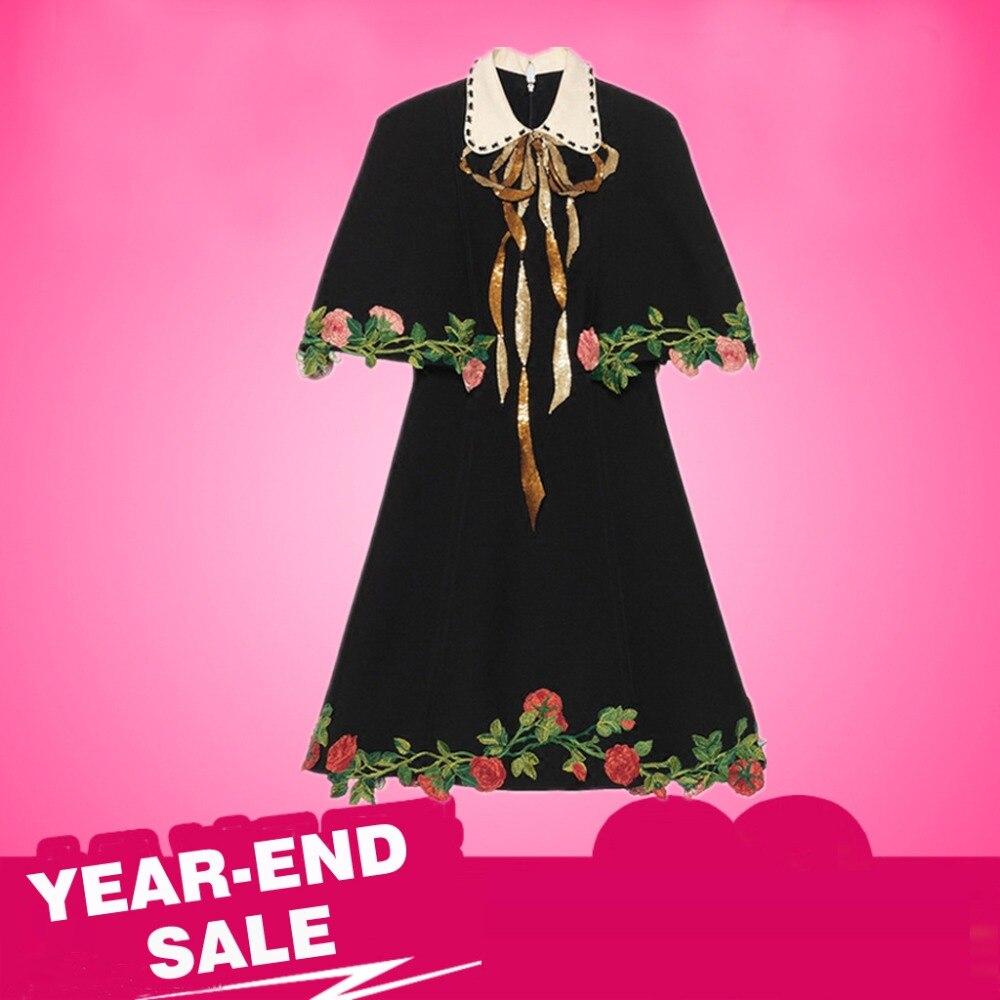 Ecombird Runway Dress Black Summer Autumn Women's Luxury Sequin Embroidery Vintage Dresses Cloak Sleeve Floral New Fashion 2018