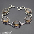 Hermosa Jewelry Unique Fashion Oval SMOKY QUARTZ Retro 925 Sterling Silver Bracelets 6.5 inch Adjustable HM339