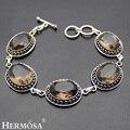 Hermosa joyería de moda único cuarzo ahumado oval retro 925 pulseras de plata de 6.5 pulgadas ajustable hm339
