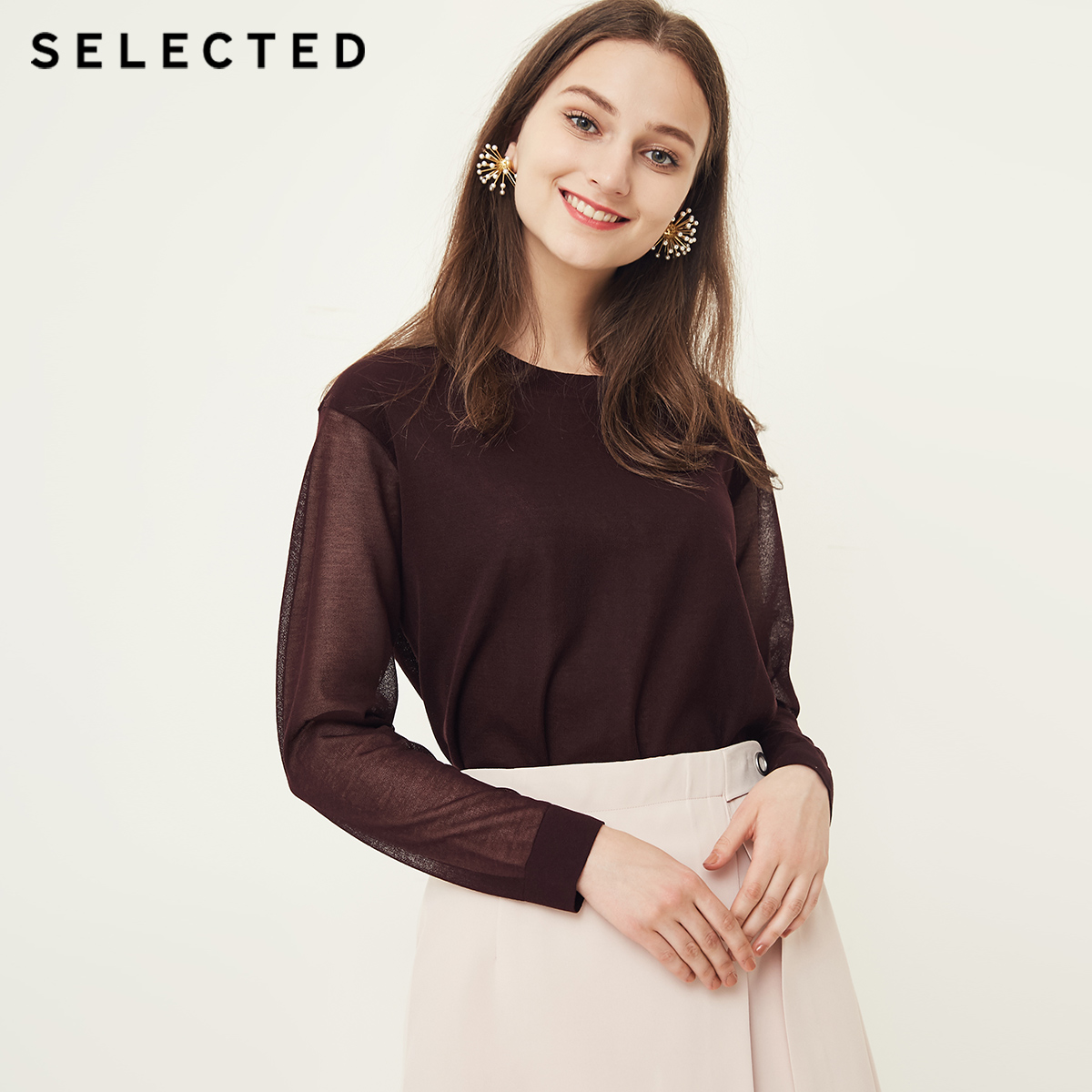 SELECTED New Women s Round collar Half perspective Drop Shoulder Sleeve Long sleeve Knitted Shirt S