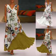 Summer Plus Size Vintage V-Neck Sleeveless Splicing Floral Printed Maxi Longue Femme Bridesmaids Party Dress