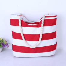 2017 Women Beach Canvas Bag Fashion Color Stripes Printing Handbags Ladies Large Shoulder Bag Totes Casual Bolsa Shopping Bags