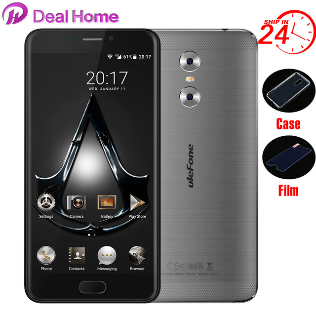"""Case+glass)gifts!lOriginal Ulefone Gemini Dual Back Cameras 5.5"""" FHD 3G+32G MT6737T Front Touch ID Metal Unibody 4G Smartphone"""