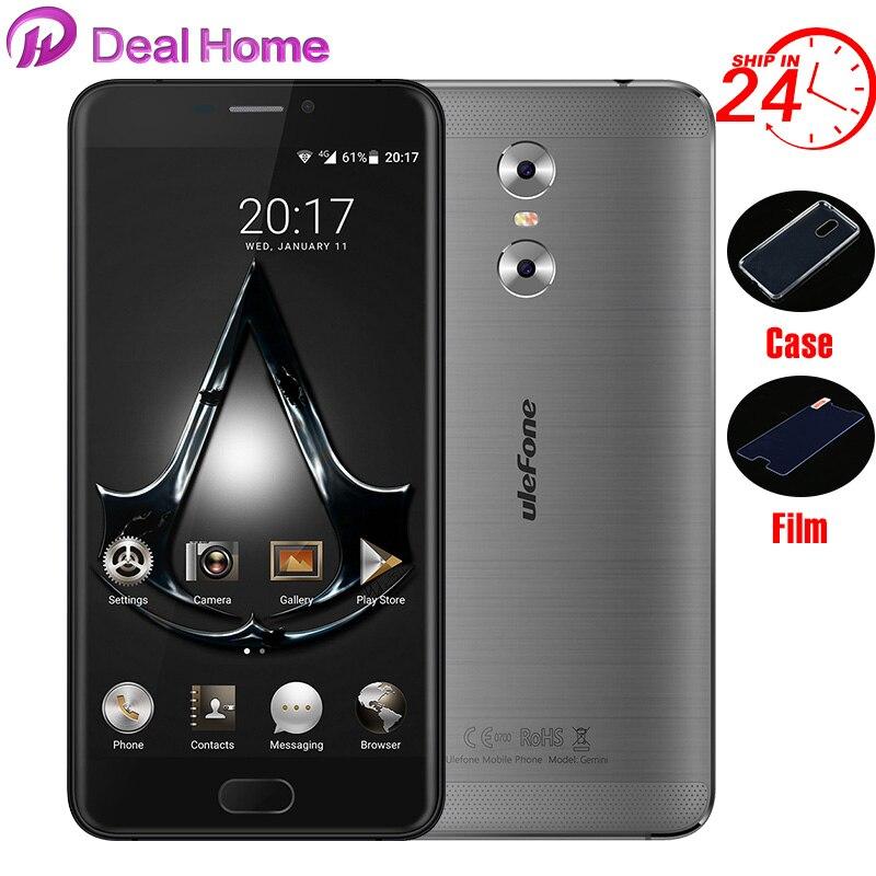 """bilder für Fall + glas) geschenke! lOriginal Ulefone Gemini Dual Rückseite Kameras 5,5 """"FHD 3G + 32G MT6737T Vorder Touch ID Metall Unibody 4G Smartphone"""