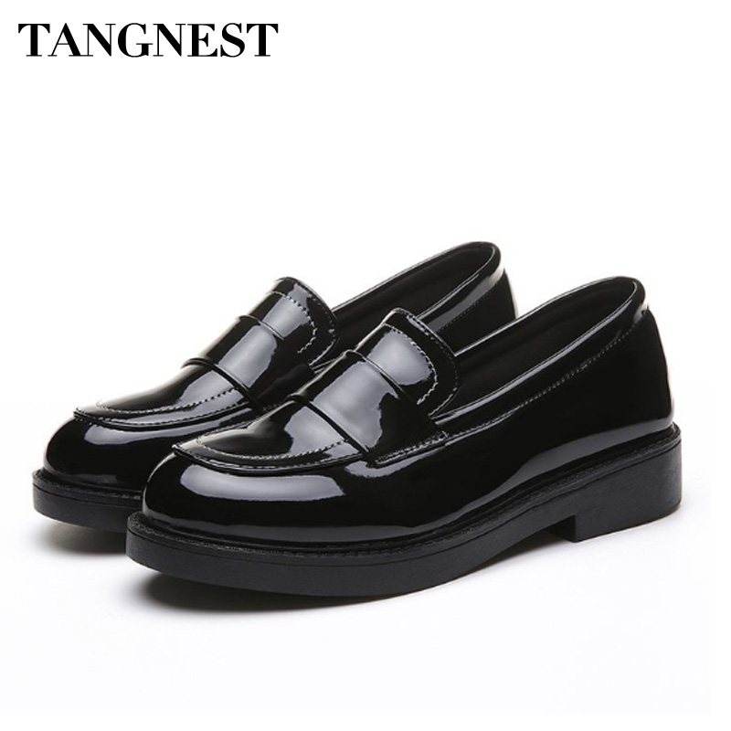 Tangnest Patent Leather Ocfords Shoes Women Spring Comfortable Point Toe Casual Woman Flats Slip-on Woman Shoes Black XWP261 cresfimix zapatos women cute flat shoes lady spring and summer pu leather flats female casual soft comfortable slip on shoes
