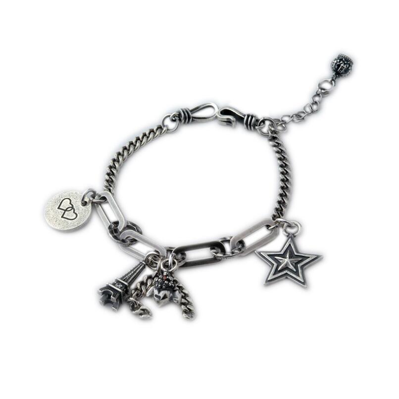 Pur argent S925 argent vintage tour coeur étoile pendentif lien chaîne bracelet 925 bijoux en argent (YRT)
