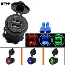 WUPP 12-24V 4.2A/DC Black Waterproof Dual USB Car Adapter Charger Socket Aperture Vehicle