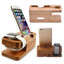 NEW Wood for Apple Watch 44MM 40MM Stand Phone Stand Charging Table Base for iWatch 4/3/2/1 38MM 42MM Band Bamboo Charging Box(China)