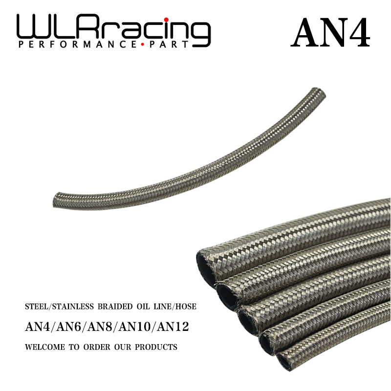 Stainless Steel Braided Fuel Oil Line Water Hose One Feet 0.3m Wlr7111-1 An4 4an An-4 5.6mm / 7/32 Id Enthusiastic Wlr Racing