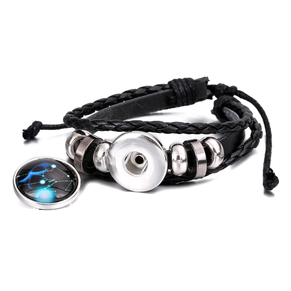 Unisex Constellations Bracelet Leather Bracelet Casual Personality 12 Zodiac Signs Punk Bracelet 2018 New Fashion Jewelry