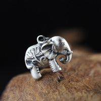 L P Fashion Hot Thai Silver Hollow Elephant Charms 925 Sterling Sliver Charms Pendant For DIY