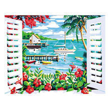 WEEN Paint by Number Kits for Adults,DIY Painting Numbers on Canvas ,Wall pictures, Acrylic Paint,Boat Scenery 16x20inch