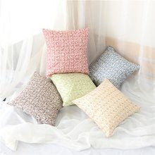 2018 New Light Color Cotton Linen Geometry Decor Throw Pillows Case Home Car Cotton Cover Grid Decoration Custom(China)