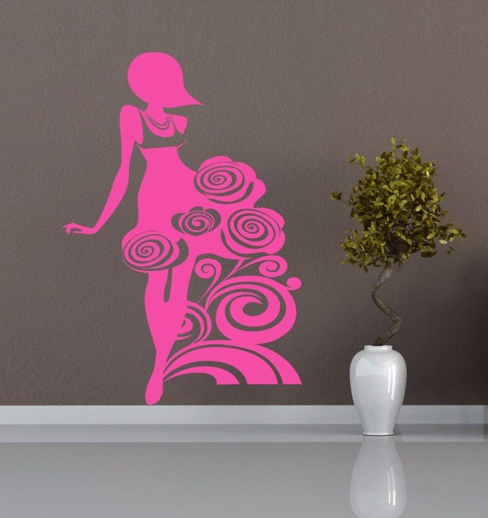 Beautiful girl lady flowers Kids Room Stylish Wall Art Sticker Decal