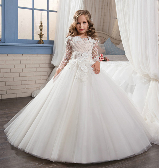 White First Communion Dresses For Girls Long Sleeves O Neck Lace