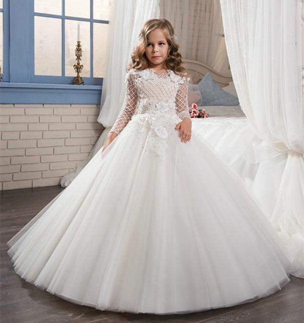 White First Communion Dresses For Girls Long Sleeves O-Neck Lace Ball Gown Flower Girl Dresses For Weddings Christmas Dresses