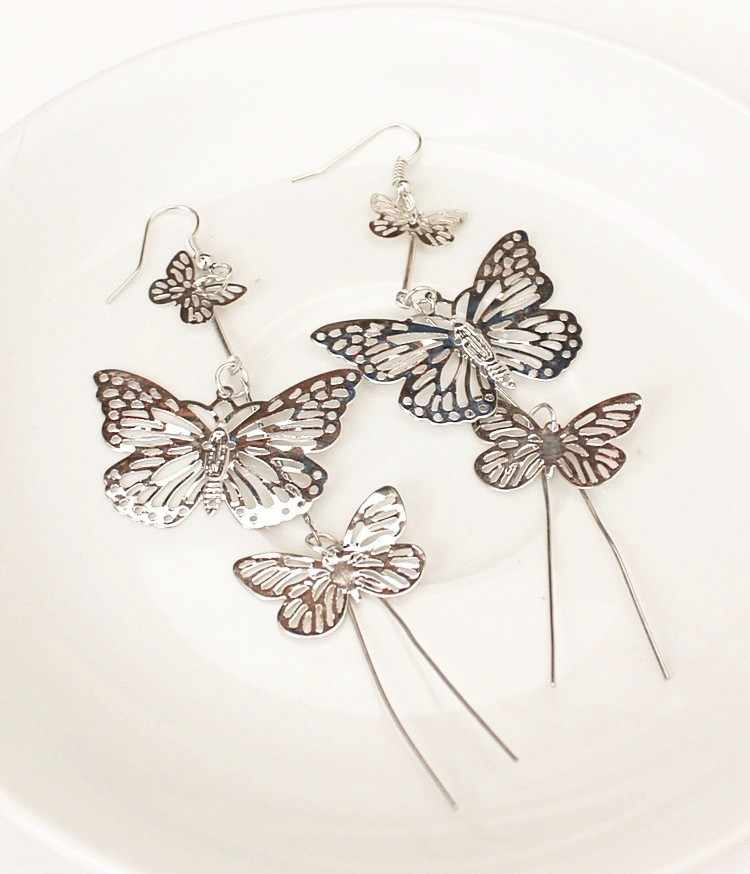 Moda punk 2017new brincos moda jóias oco borboleta longa borla pingente brincos damas de honra jovens meninas por atacado