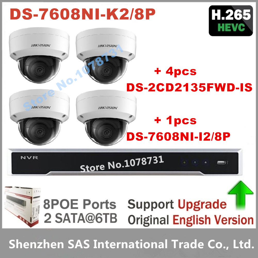 4pcs Hikvision DS-2CD2135FWD-IS H.265 IP Camera replace DS-2CD2135F-IS + Hikvision NVR DS-7608NI-K2/8P 8CH 8 ports POE 4K H.265 4pcs hikvision surveillance camera ds 2cd2155fwd i 5mp dome h 265 ip camera hikvision ds 7604ni k1 4p 4ch 4poe 4k nvr one sata