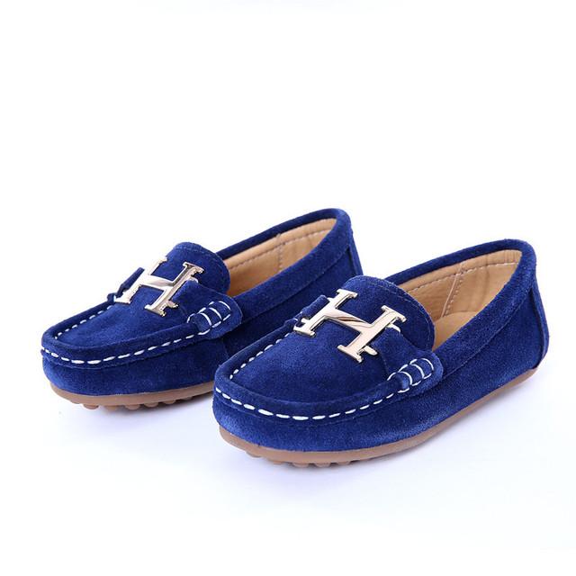 Shoes niños mocasines de cuero genuino 2016 del otoño del resorte niños casual shoes cómoda kids shoes niños resbalón en holgazanes pisos