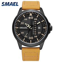 SMAEL Men Watch Casual Waterproof Watches Leather Watchband Clock Analog Quartz Watch 1315 Sport Watch Men Quartz Wristwatches цена в Москве и Питере