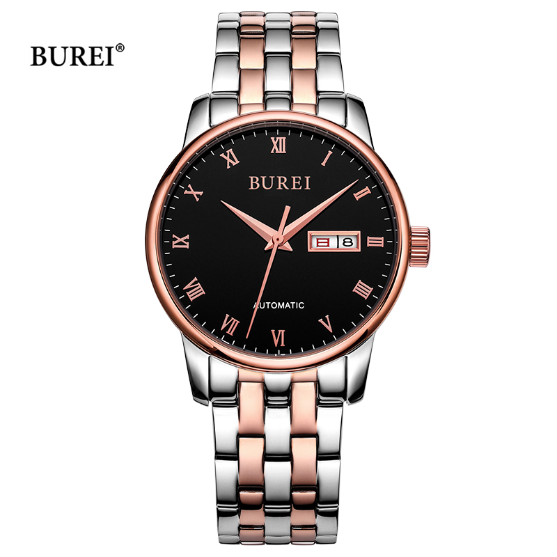 BUREI Luxury Mens Watches Waterproof Sapphire Crystal Military Automatic Mechanical Wrist Watch Clock Men 2017 Relogio Masculino