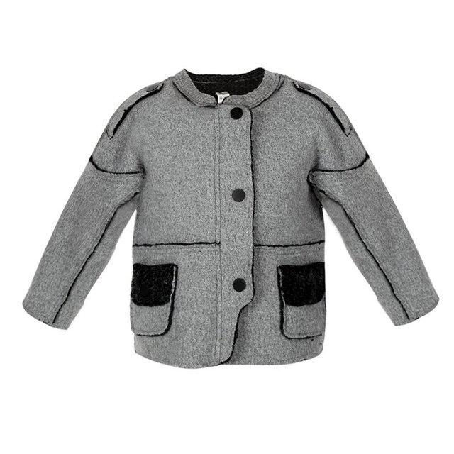 Gray Round Neck Woolen Cloth Unisex Coat Jackets Winter Warm Little Boy Girls Splicing Jacket Outwear