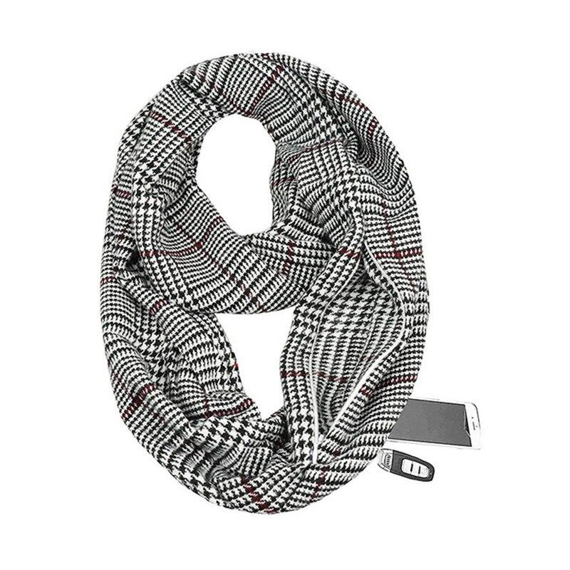 2019 Winter Knitting Plaid Warm Travel Infinity Scarf With Hidden Pocket Cashmere Scarves Female Foulard Pashmina Lady Blanket