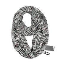 2019 winter Knitting Plaid warm Travel Infinity scarf with Hidden Pocket Cashmere Scarves Female Foulard Pashmina Lady blanket недорого