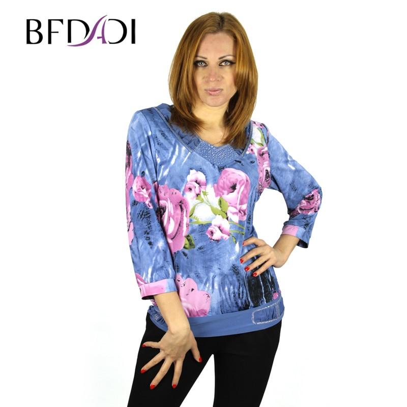 Bfdadi 2016 new spring autumn plus size flower print women for Girls shirts size 8