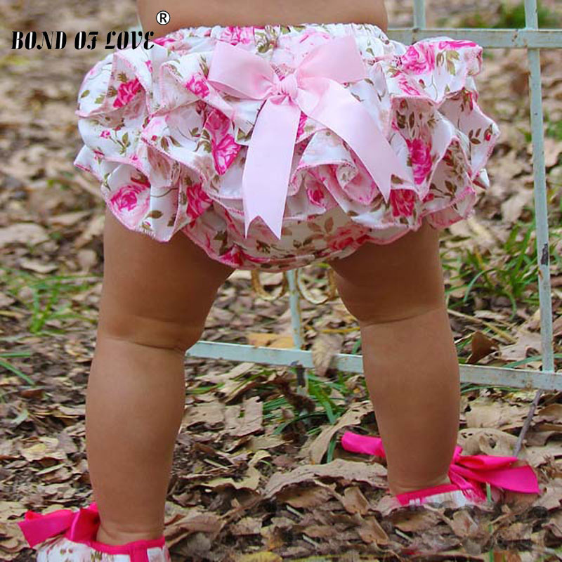 Lucky Child Baby Clothing Floral Silk Bow Satin Shorts Ruffle Diaper Cover Bloomer  Baby Girls Satin Panties Bloomers 3 Colors