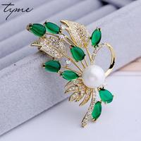 New Fashion Rhinestone Brooches For Women Green Crystal Leave Wedding Lapel Pins For Scarves Flower VAB3
