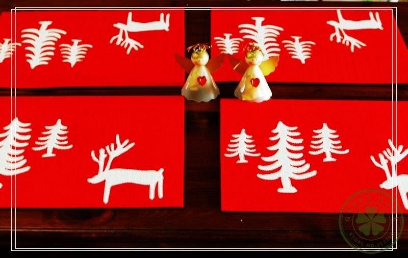 4 Pcs/set,Christmas Felt Placemat Set,Dining Mat,Christmas