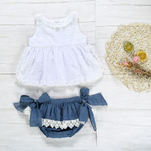 US 2pcs Newborn Toddler Infant Baby Girl Clothes T-shirt Top+Bow Denim White Lace Shorts Pants Outfit цены онлайн