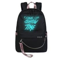 Fashion Luminous Waterproof Women Daily Backpacks College Student Bookbags Reflective Bagpack For Girls School Knapsack