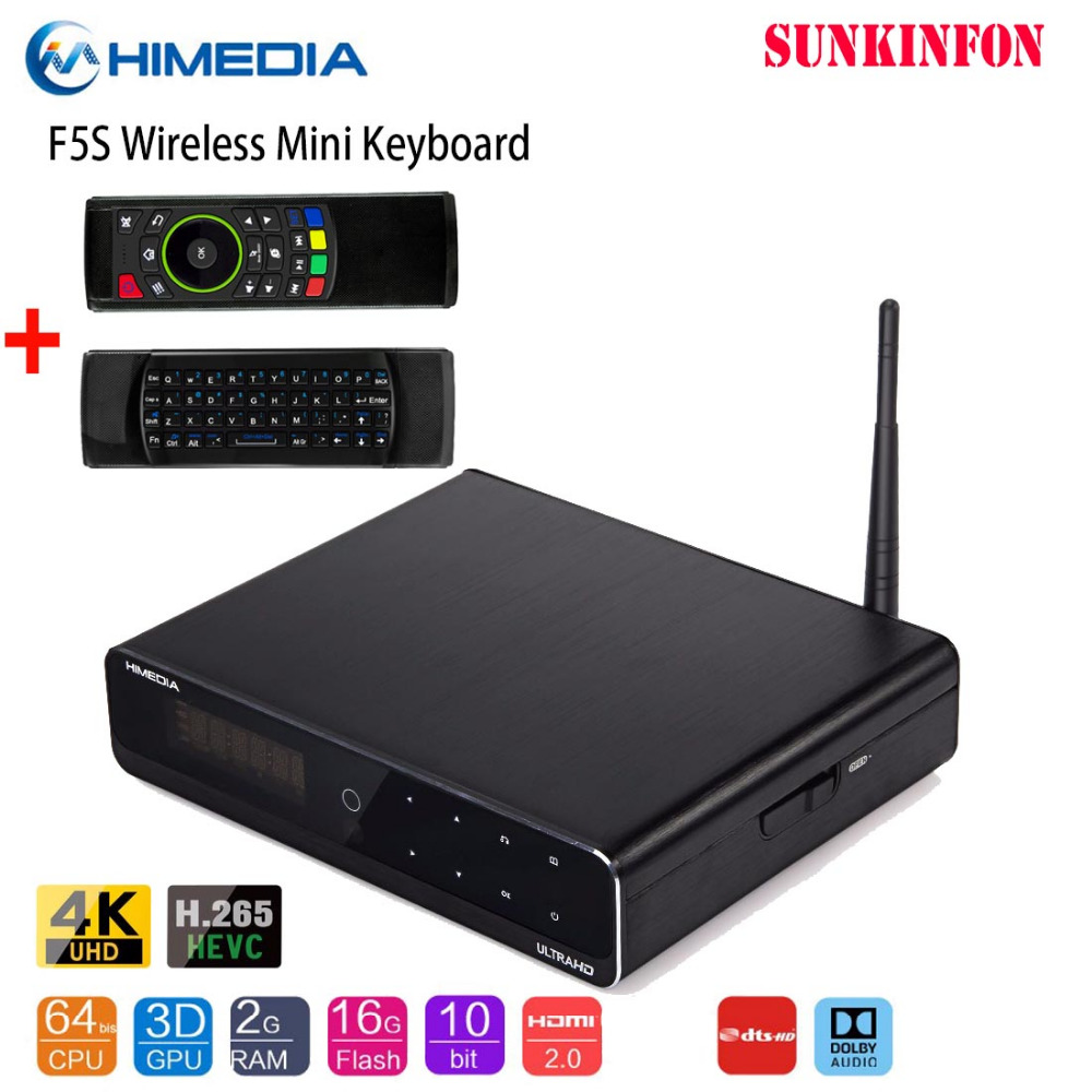 "2019 original Himedia Q10 Pro 4K HDR 2G / 16G Smart Android 7.1 TV CAJA 2.4G / 5G WIFI Dolby DTS 3.5 ""SATA HDD Bluetooth Set Top Top"