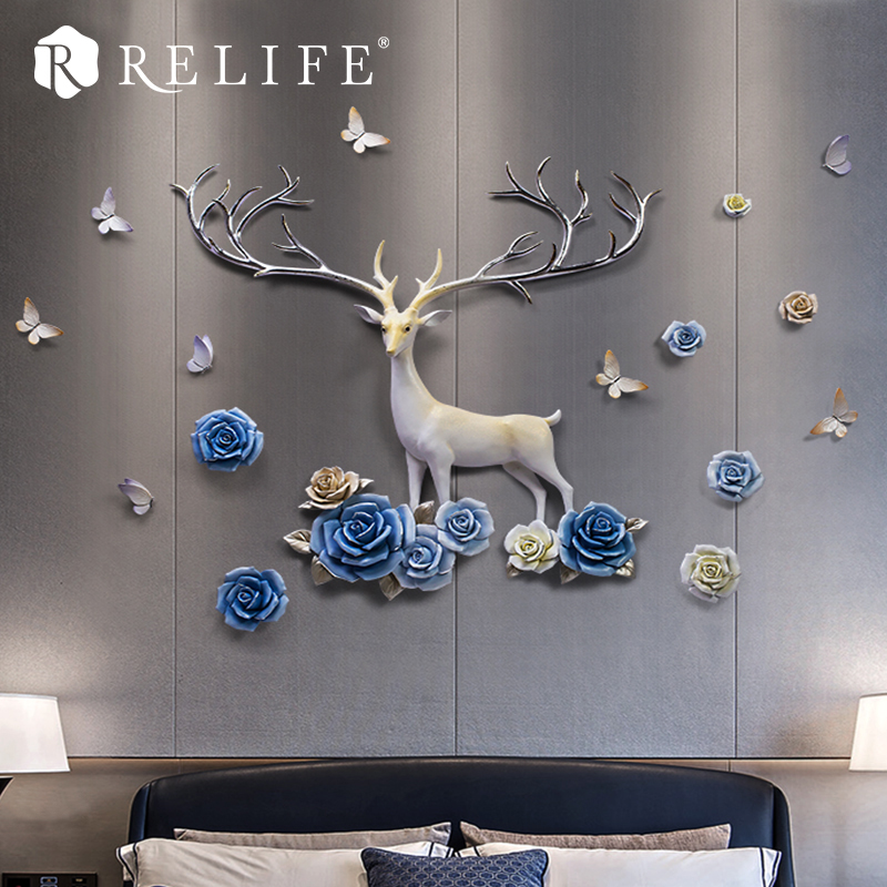 Modern DIY Deer Wall Stickers Sofa Background for Living Room Home Decor with Flowers and Butterfly