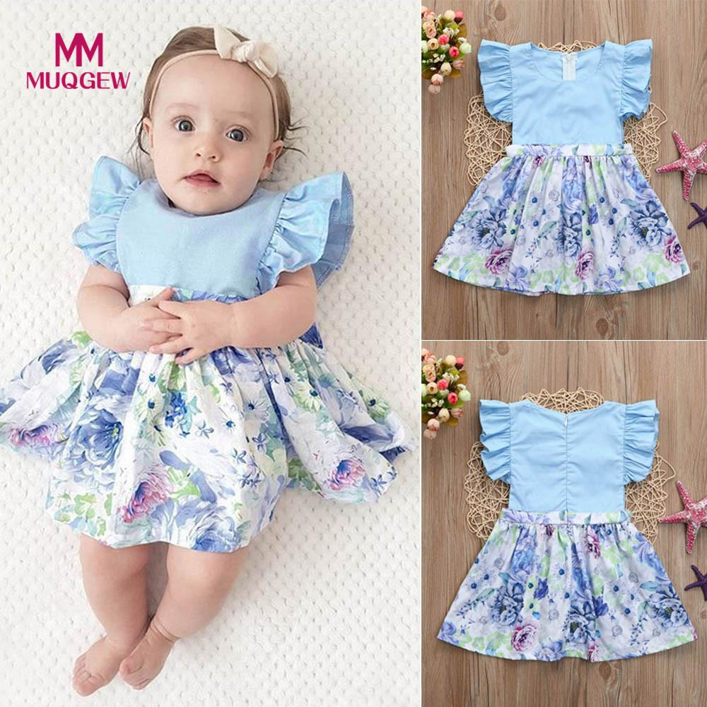 2018 Toddler Baby Dress Infant Ruched Floral Print Splice Sundress Summer Clothes Outfit vestidos roupas infantis menina