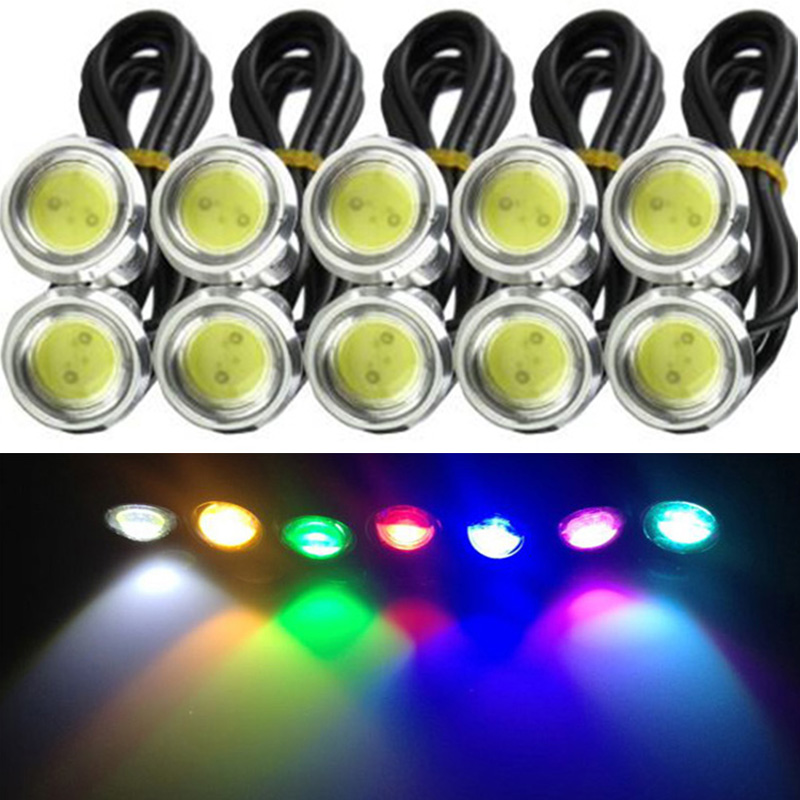 10PC 12V/24V Eagle Eyes LED23mm Silver Shell DRL Daytime Driving Running Lights Super Brightness Working Waterproof Parking Lamp