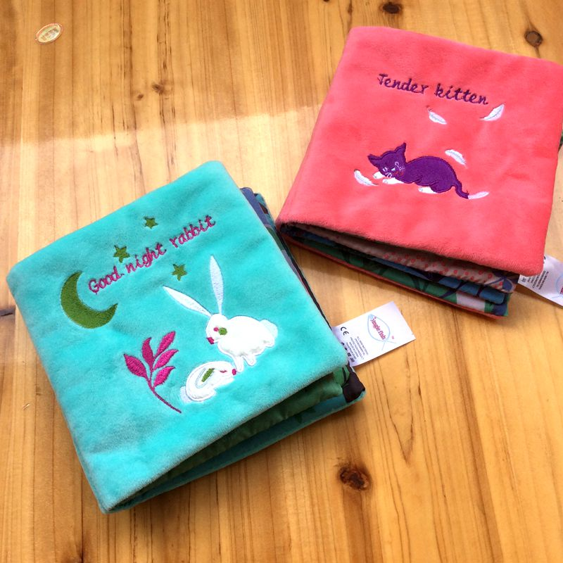 Candice Guo! Super Cute Plush Toy Soft Cloth Book Good Night Rabbit Tender Kitten Cat Book Baby Toy Early Learning Gift 1pc