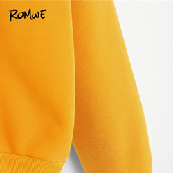 ROMWE Planet Print Drop Shoulder Hoodie Women Yellow Pullovers  Spring Autumn Ladies Hooded Full Sleeve Sweatshirt 3