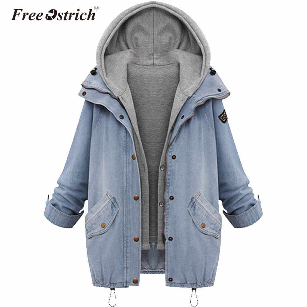 Free Ostrich Coat Denim Jacket Loose Women Jackets Hooded Tops Cowboy Coat Two Denim Outwear Women Clothes Dropshipping De18