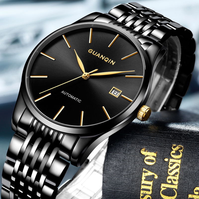 GUANQIN Luxury Brand Men Business Stainless Steel Automatic Watch Casual Fashion Waterproof Mechanical Wristwatch Montre Homme guanqin gj16031 top brand luxury automatic mechanical tourbillon watch men luminous stainless steel wristwatch montre homme