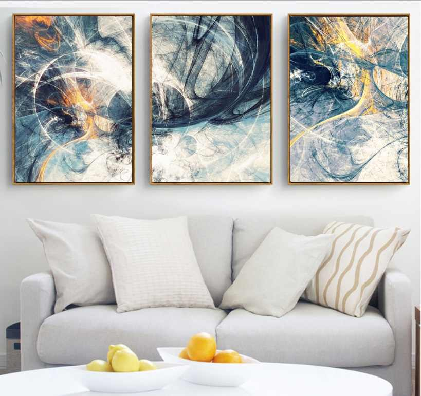 لوحات فنية تجريدية مصنوعة يدويًا لعام 100% مكونة من 3 قطع من القماش لوحات نمطية لتزيين غرف المعيشة بدون إطار