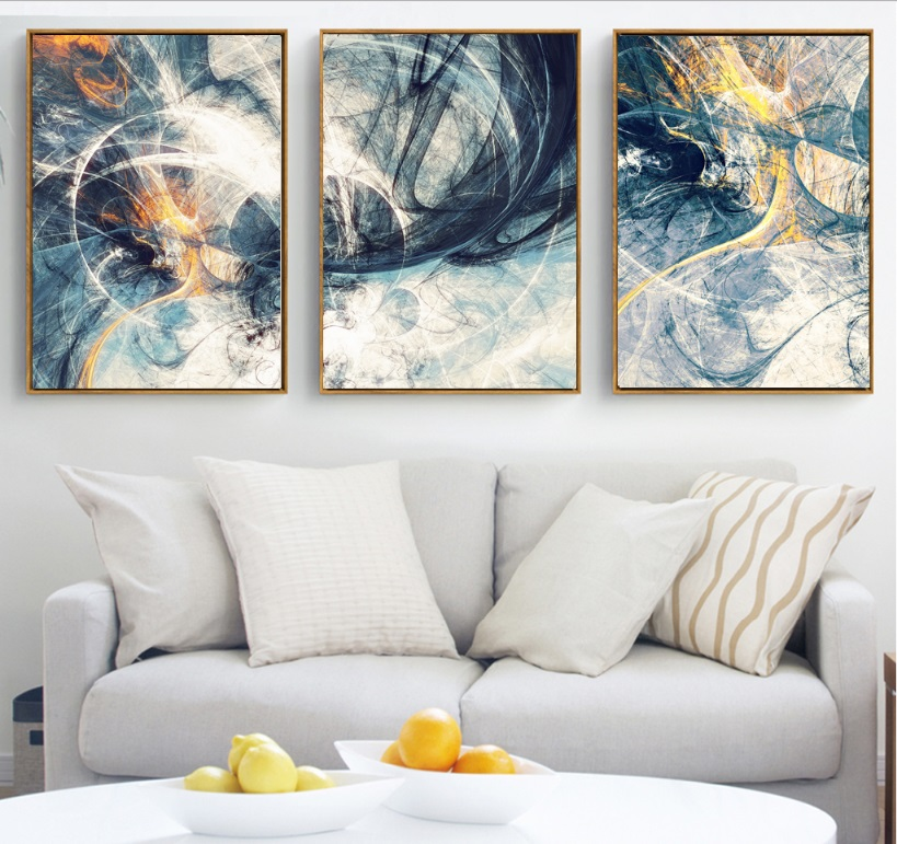 100 handmade Abstract Art 3 Pieces Canvas Paintings Modular Pictures Wall Art Canvas for Living Room Decoration No Framed in Painting Calligraphy from Home Garden