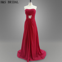 Real photo Wine red long gown waist beaded chiffon evening dress party prom dresses
