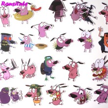 38Pcs/set COURAGE The Cowardly Dog Sticker poster Waterproof Car Sticker Trolley Case Sticker DIY Cool Skateboard Decal R381(China)