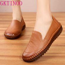 GKTINOO Women's Flats Handmade Shoes 2021 Spring Autumn Genuine Leather Ladies Shoe Flat Shoes Women Leather Retro Shoe