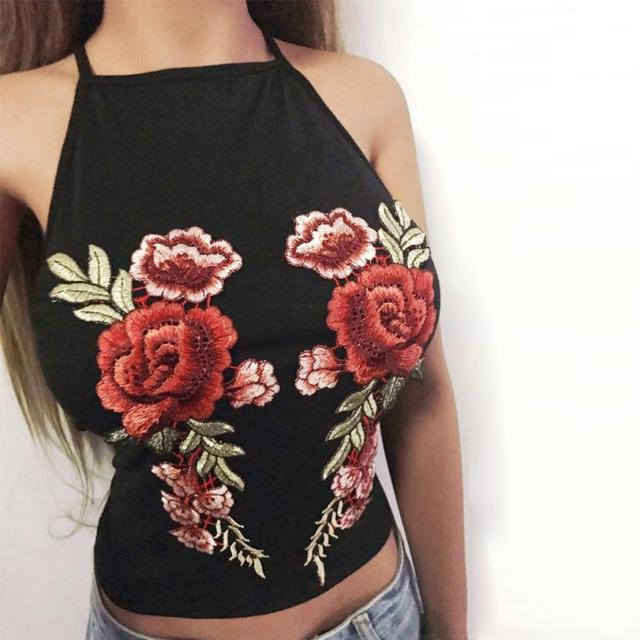 ced4793a6b Summer Women Tank Top Flower Embroidery Camisole Sexy Off Shoulder Halter  Neck Sleeveless Crop Top Christmas Backless Bustier